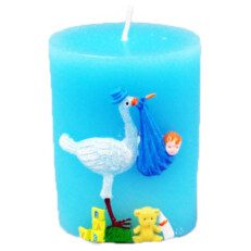 Blue Baby Stork Candle