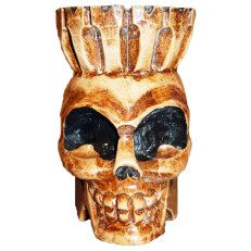 Wood Skull Head with Crown