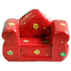 Wood Two Seater Chair Red