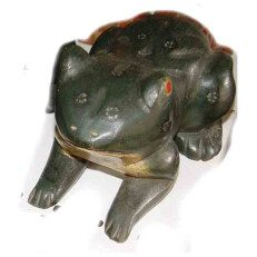 Carved Frog with Red Eyes