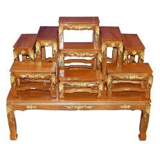 Buddhist Altar Table Set Natural Finish with Gold Accents