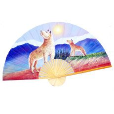 Hand Painted Fan of Two Wolves