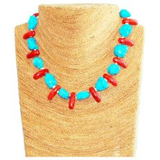 Turquoise Necklace and Coral