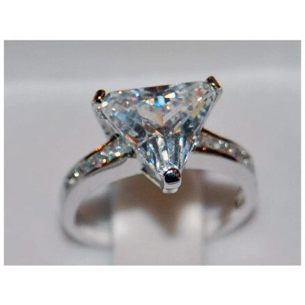 CZ Triangle Ring Rhodium Plated