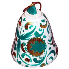 Green and White Ceramic Bell